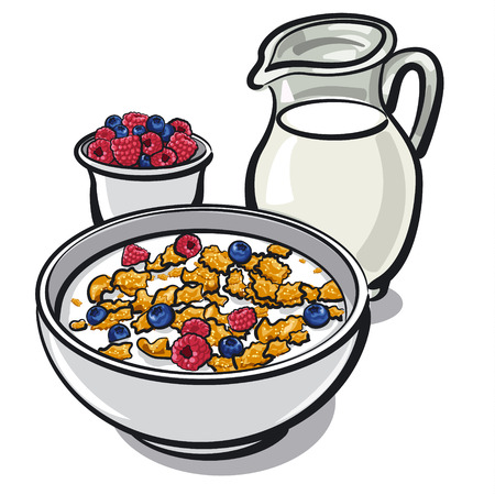 healthy breakfast with cereal and milk with berries