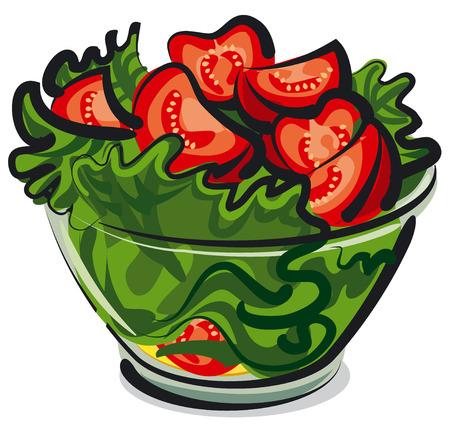 salade met tomaten Stock Illustratie