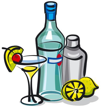 tomando alcohol: botella de martini