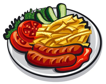 potato salad: sausages with fries