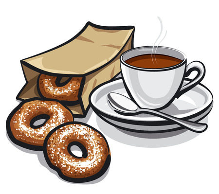 coffee and donuts 일러스트