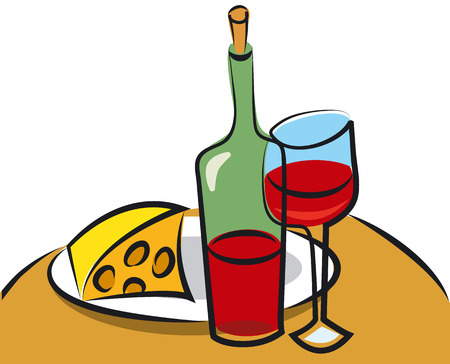 wine and cheese: wine and cheese Illustration