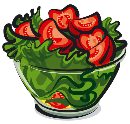 salad bowl: salad with tomatoes Illustration