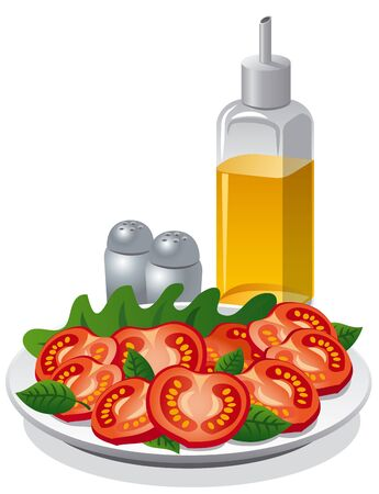 cooking oil: tomatoe salad and cooking oil Illustration