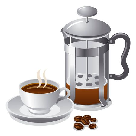 french bean: french press with coffee