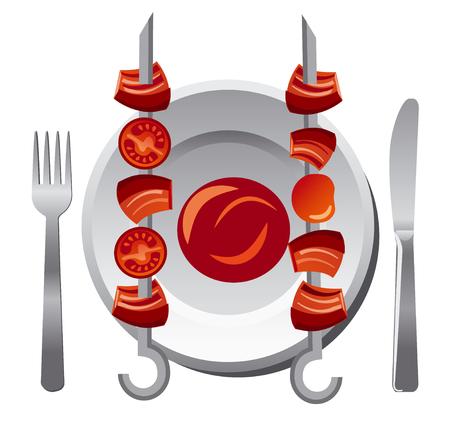 sauce: kebab with sauce Illustration