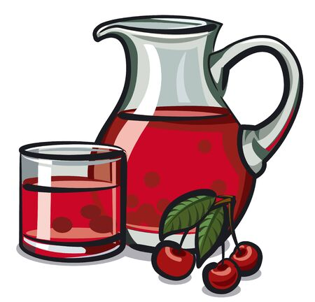 cold drinks: cherry drink Illustration