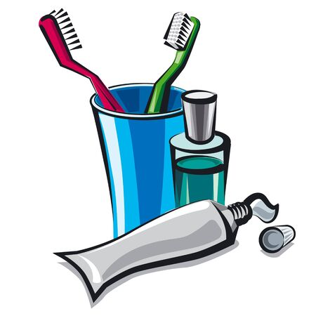 toiletry: toothbrush and toothpaste Illustration