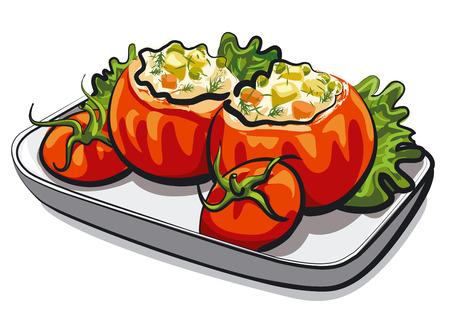reis gekocht: gef�llte Tomaten Illustration