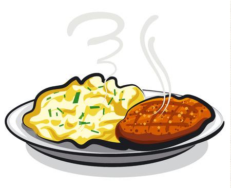 cutlet with mashed potato Ilustração