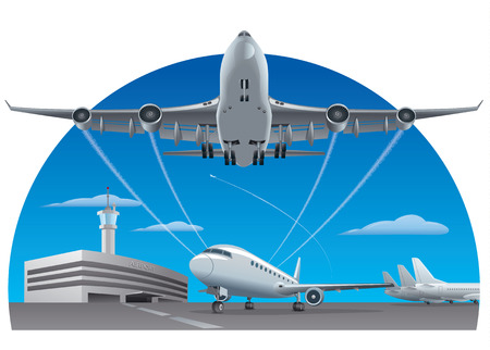 airfield: airport and airplanes Illustration