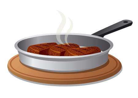 pan: hot cutlets on pan Illustration