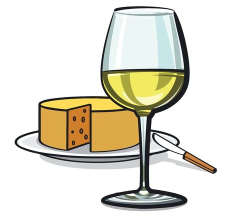 appetizers: white wine and cheese Illustration