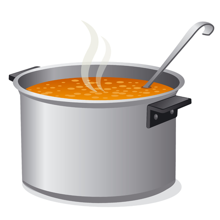 food plate: hot soup in pan