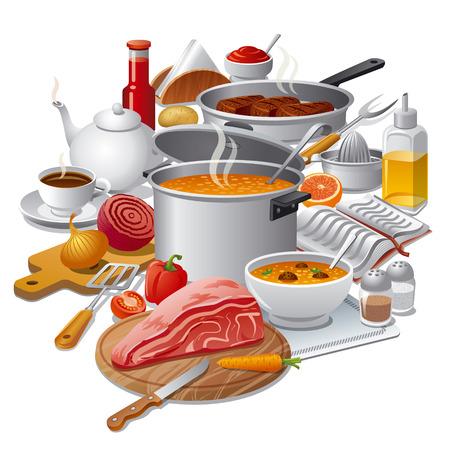 napkin: cooking meal Illustration