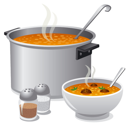soup pot: hot soup