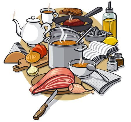 meat soup: cooking food