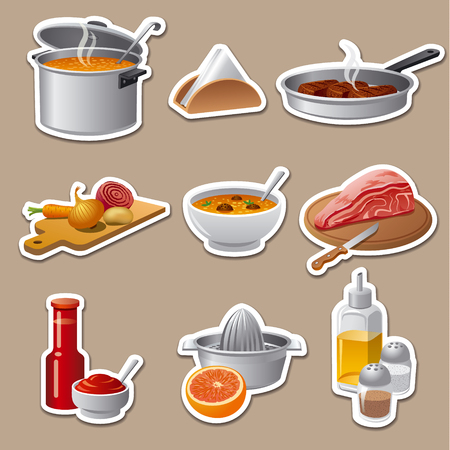 fruit and vegetable: cooking food stickers