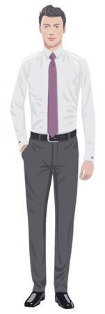 standing man: young man in shirt and tie