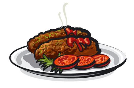 hot cutlets Illustration