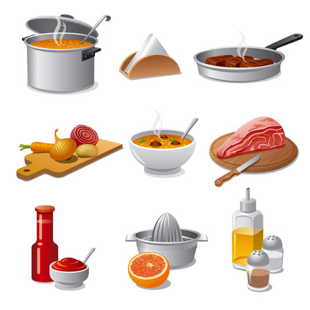 veal: cooking food icon set Illustration