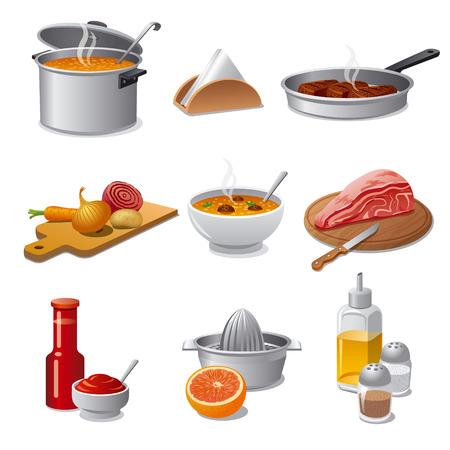 food: cooking food icon set Illustration