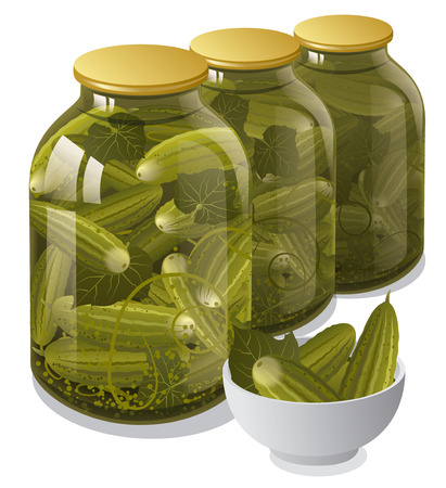 pickled: canned jars of cucumbers
