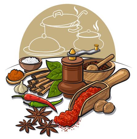 pepper grinder: spices and flavors Illustration