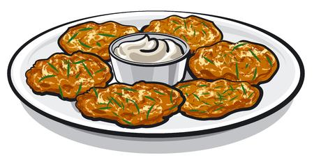 prepared potato: pancakes with sauce
