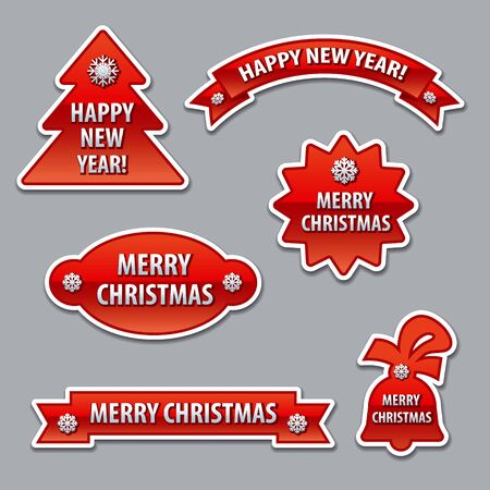 congratulations banner: christmas stickers Illustration