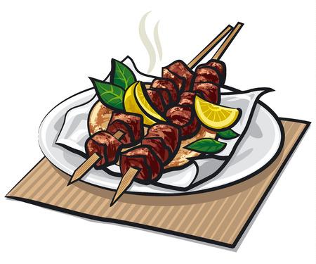 fried food: greek meat kebabs