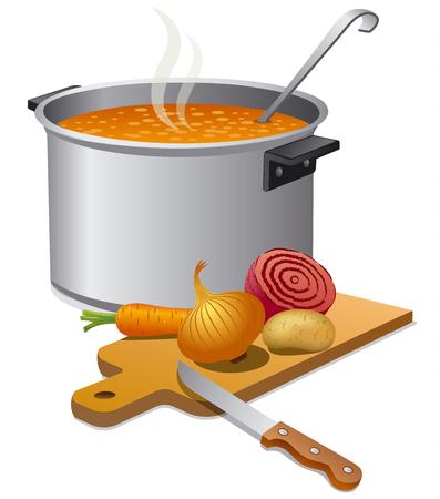 chef kitchen: vegetable soup
