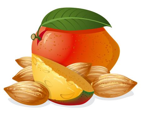 mango slice: mango and almonds