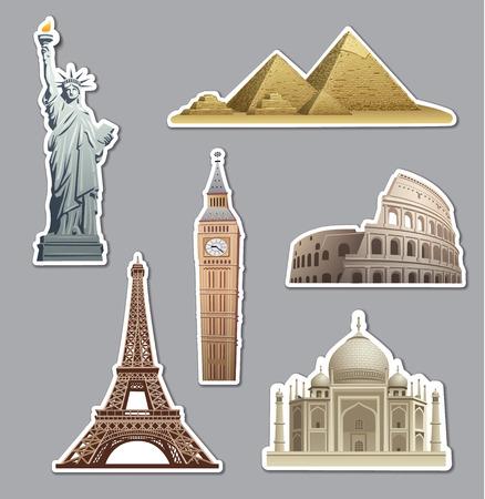 landmark: landmarks stickers Illustration
