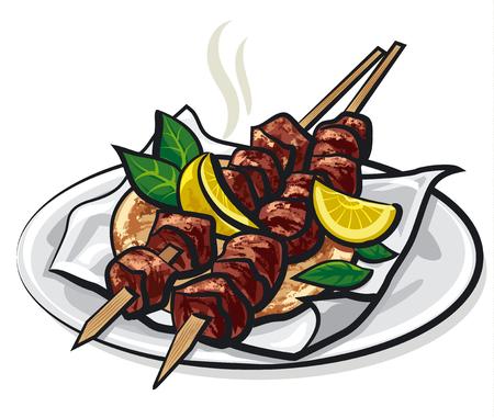 piatto: spiedini di carne greco Vettoriali