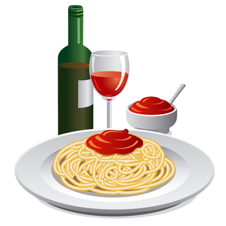 spaghetti bolognese: spaghett and sauce