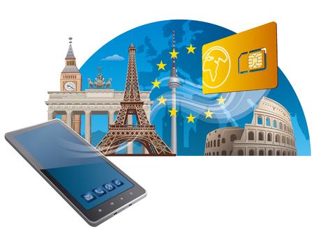 servicio móvil Unión Europea Ilustración de vector