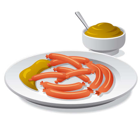 mustard: sausages with mustard