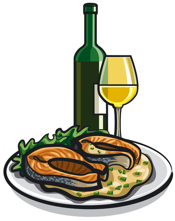 grilled vegetables: grilled salmon and wine Illustration