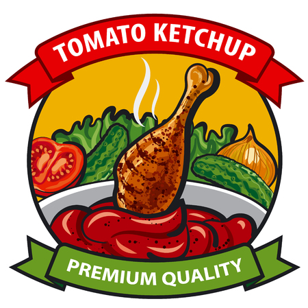 tomato sauce: tomato ketchup label design, tomato sauce with chicken, onion, cucumber, vegetables, spices, drumstick