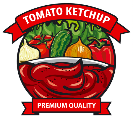 tomato sauce: tomato ketchup label design, tomato sauce with onion, pepper, cucumber, vegetables, spices