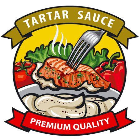 salad dressing: sauce tartar label design, cream sauce with spices, vegetables, fish and condiments Illustration