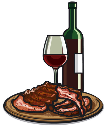 spare: spare ribs and red wine Illustration