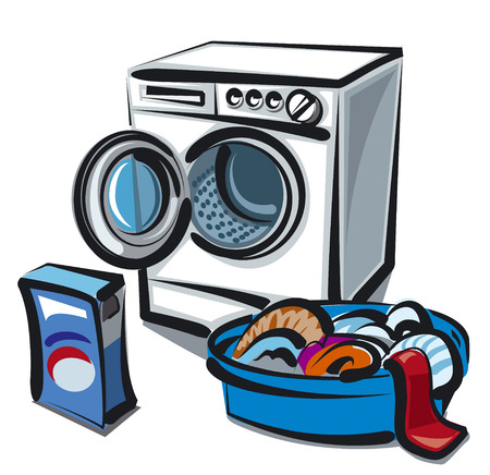 linens: washer and clean linens Illustration