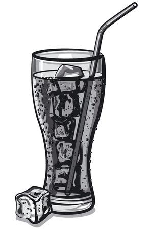 grayscale: grayscale soda water Illustration