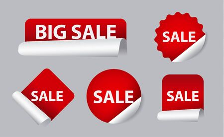 sale icons: advertising sale stickers, design promotion icons, tags and banners Illustration