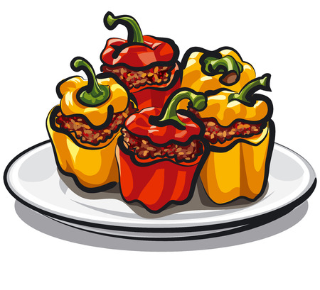 red and yellow stuffed bell peppers with mince and rice, baked vegetables