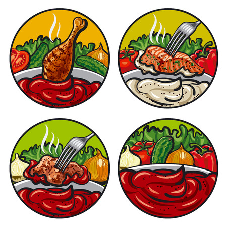 sauces: set of vector illustrations of tomato sauces with vegetables, onion, cucumber, lettuce and spices
