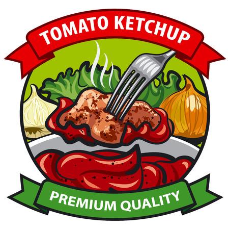 diseño de la etiqueta de tomate ketchup, salsa de tomate con carne, cebolla, pepino, hortalizas, especias, condimentos Ilustración de vector