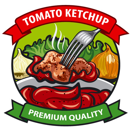 meat food: tomato ketchup label design, tomato sauce with meat, onion, cucumber, vegetables, spices, condiments